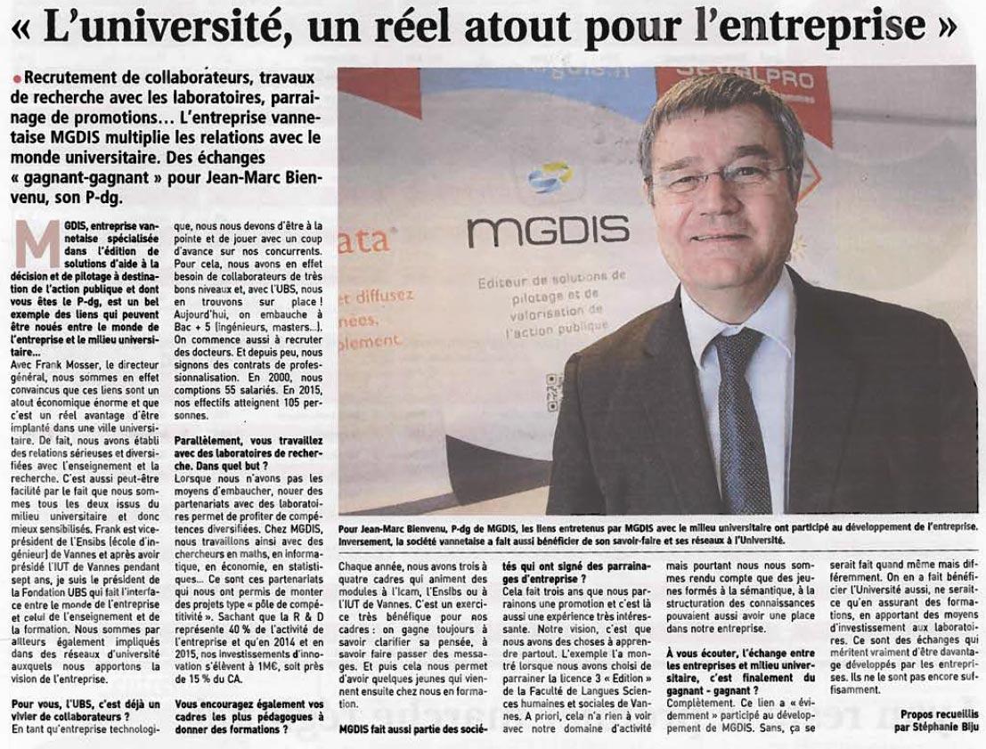 L'université un réel atout pour l'entreprise Jean Marc BIENVENU